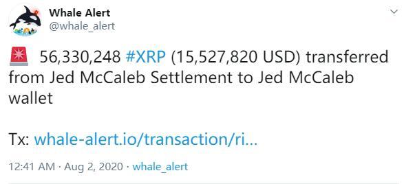 Ripple向其前CTO发送逾5633万枚XRP价值约1552.78万美元