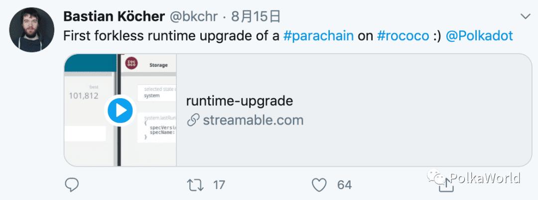 波卡平行链测试网 Rococo 完成runtime无分叉升级