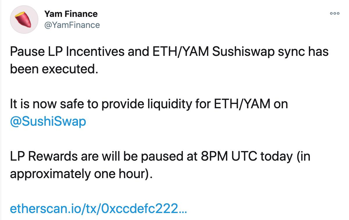 YamFinance:暂停LP奖励和ETH/YAMSushiswap同步已执行