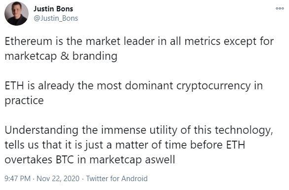CyberCapital创始人:ETH在市值上超越BTC只是时间问题