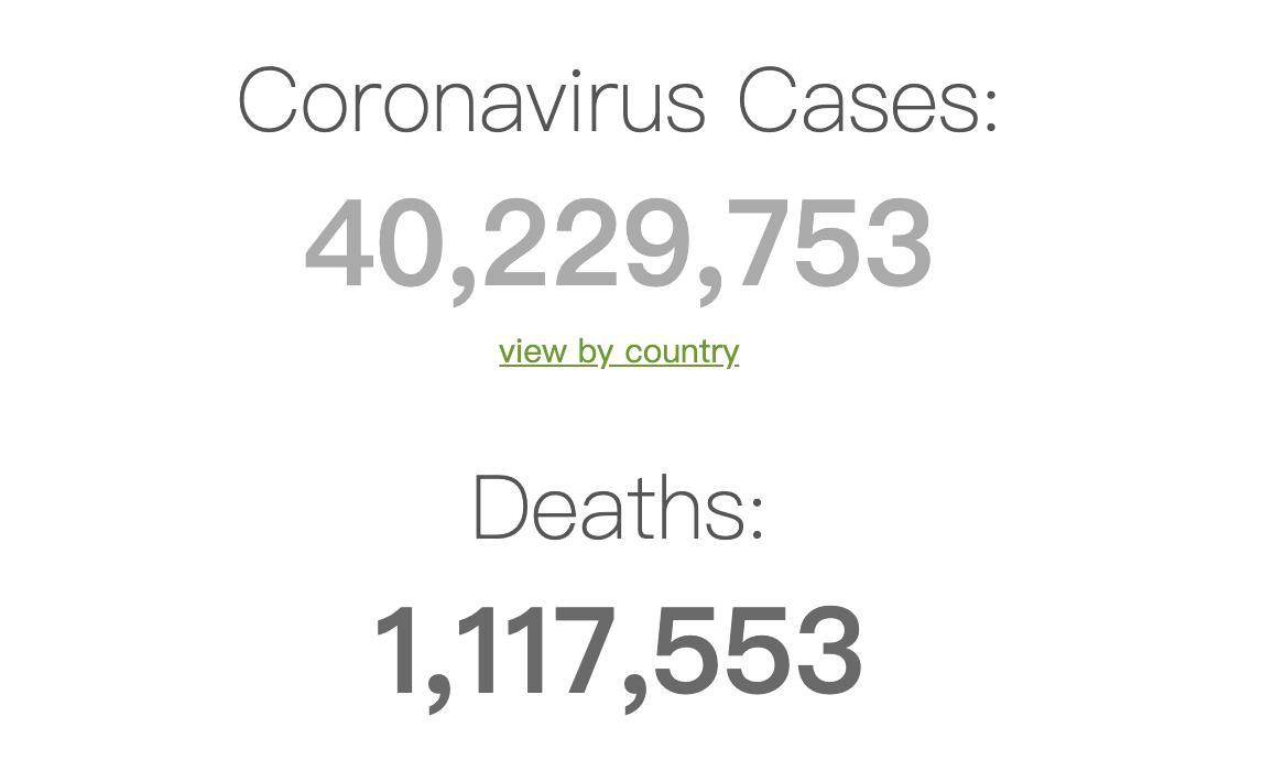 全球新冠肺炎确诊病例突破4000万例